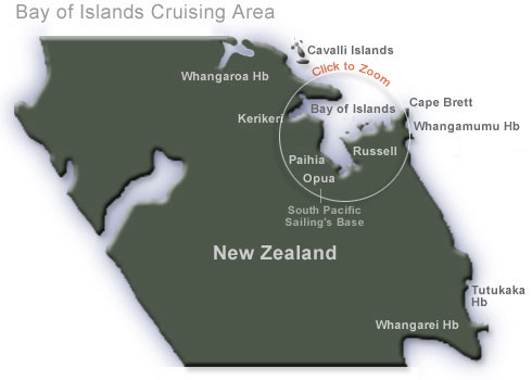 Cruising Areas in the  Bay of Islands, New Zealand